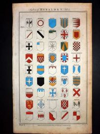 Royal Cyclopaedia C1790 Hand Col Print. System of Heraldry 06